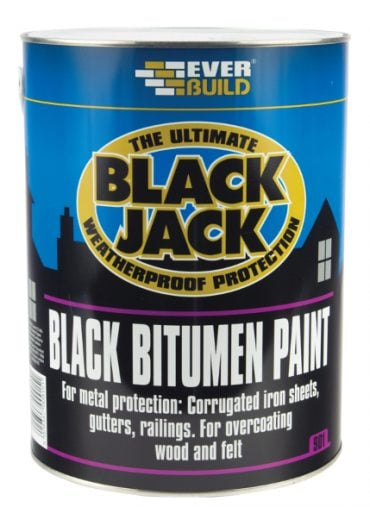 black jack 901 black bitumen paint tin on white background